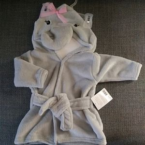 Hudson Baby Elephant Soft Hooded Bathrobe 0-9Mo